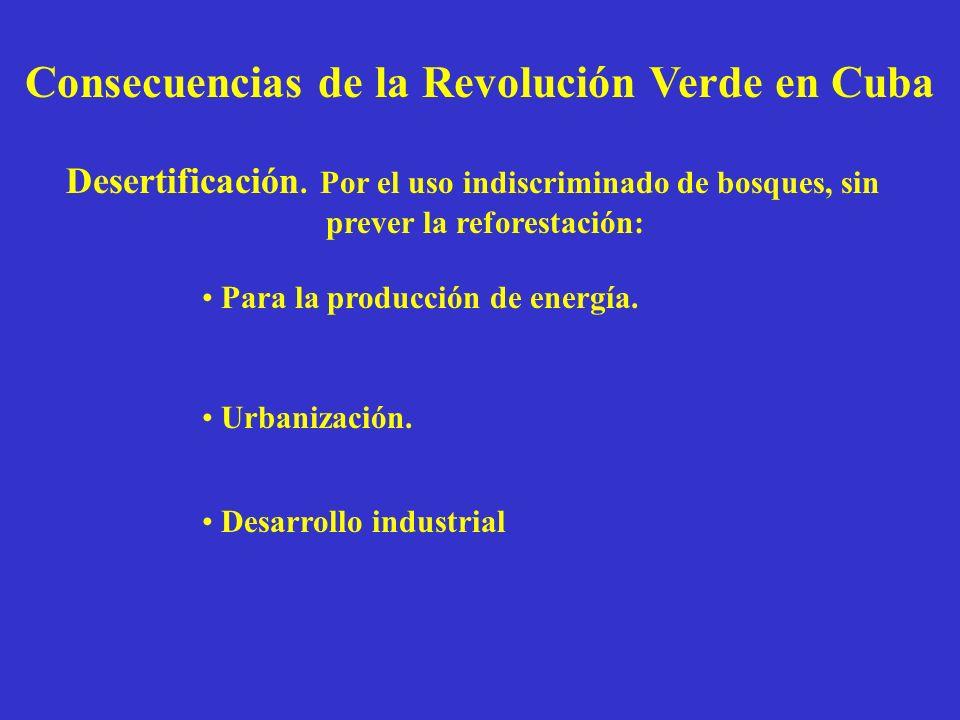 Consecuencias de la Revolución Verde en Cuba Desertificación. Por el uso indiscriminado de bosques, sin prever la reforestación: Para la producción de