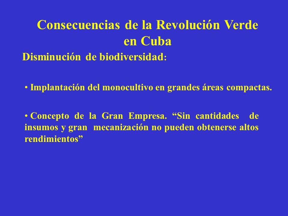 Consecuencias de la Revolución Verde en Cuba Disminución de biodiversidad : Implantación del monocultivo en grandes áreas compactas. Concepto de la Gr