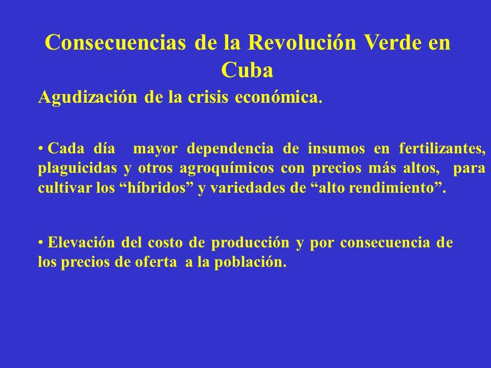 Consecuencias de la Revolución Verde en Cuba Agudización de la crisis económica. Cada día mayor dependencia de insumos en fertilizantes, plaguicidas y