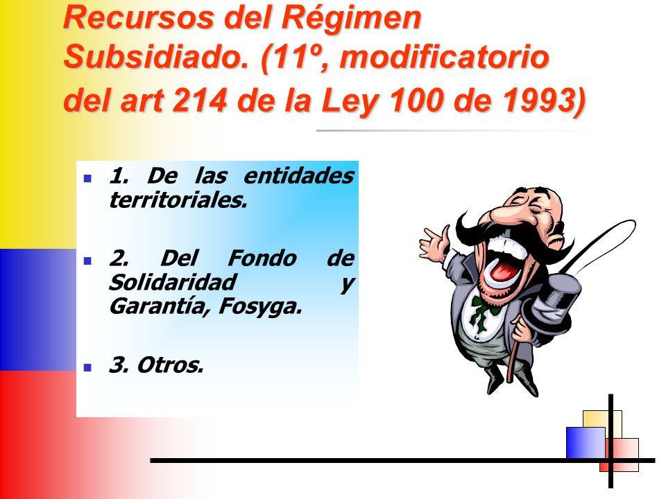 Recursos del Régimen Subsidiado. (11º, modificatorio del art 214 de la Ley 100 de 1993) 1.