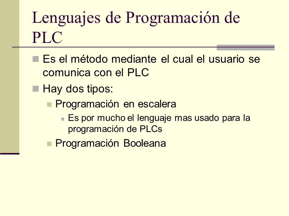 Lenguajes de Programación de PLC Es el método mediante el cual el usuario se comunica con el PLC Hay dos tipos: Programación en escalera Es por mucho