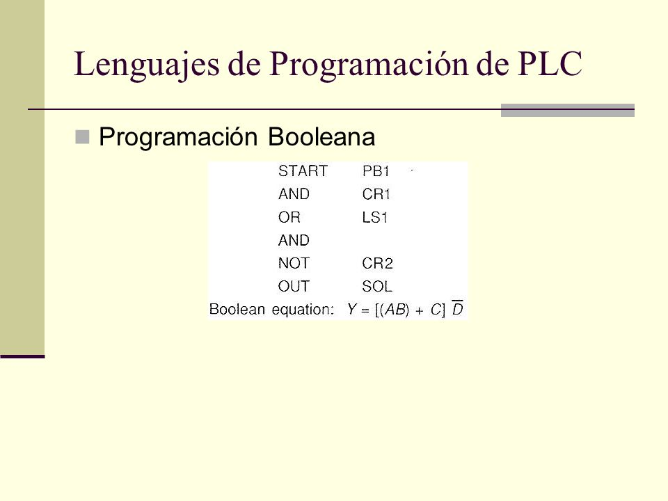Lenguajes de Programación de PLC Programación Booleana