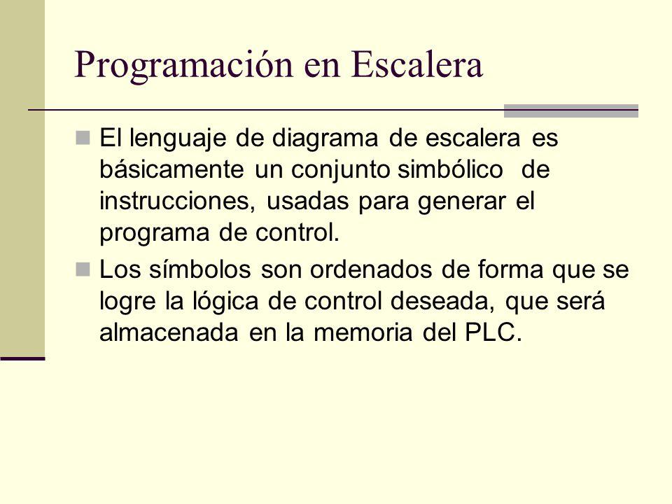Programación en Escalera El lenguaje de diagrama de escalera es básicamente un conjunto simbólico de instrucciones, usadas para generar el programa de