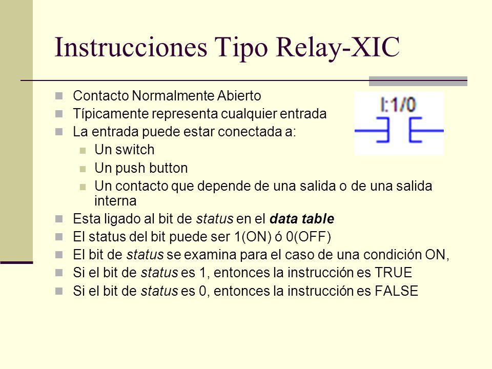 Instrucciones Tipo Relay-XIC Contacto Normalmente Abierto Típicamente representa cualquier entrada La entrada puede estar conectada a: Un switch Un pu