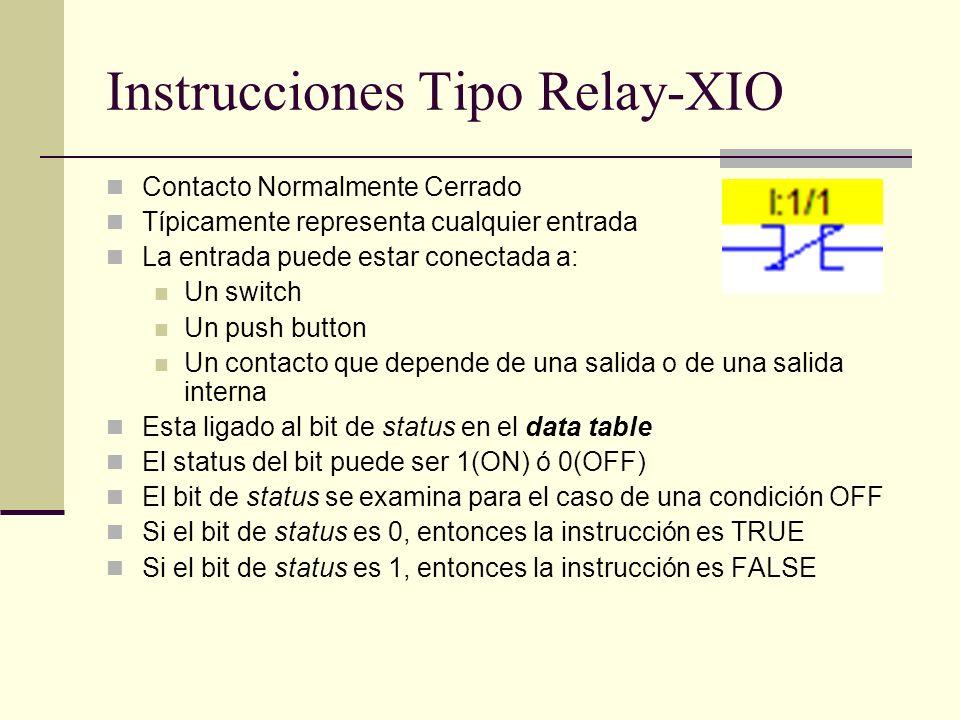 Instrucciones Tipo Relay-XIO Contacto Normalmente Cerrado Típicamente representa cualquier entrada La entrada puede estar conectada a: Un switch Un pu