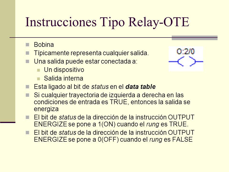 Instrucciones Tipo Relay-OTE Bobina Típicamente representa cualquier salida. Una salida puede estar conectada a: Un dispositivo Salida interna Esta li