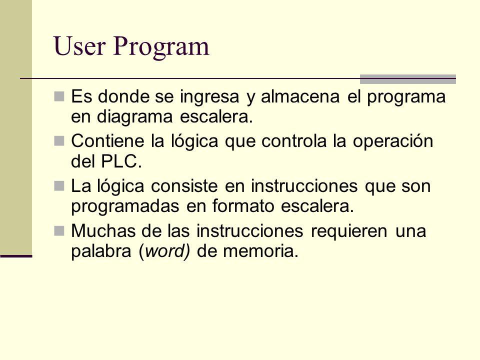 User Program Es donde se ingresa y almacena el programa en diagrama escalera. Contiene la lógica que controla la operación del PLC. La lógica consiste