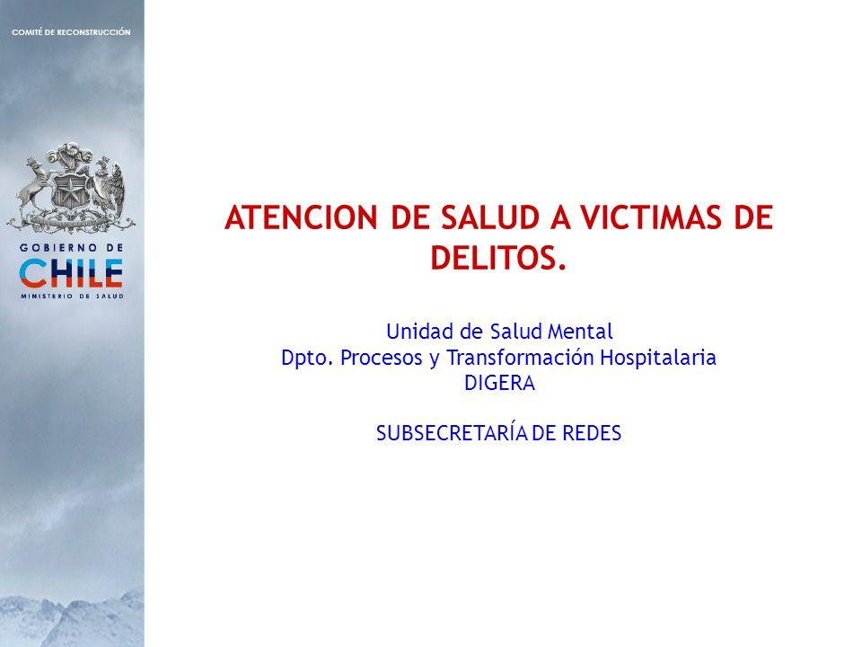 ATENCION DE SALUD A VICTIMAS DE DELITOS. Unidad de Salud Mental Dpto. Procesos y Transformación Hospitalaria DIGERA SUBSECRETARÍA DE REDES