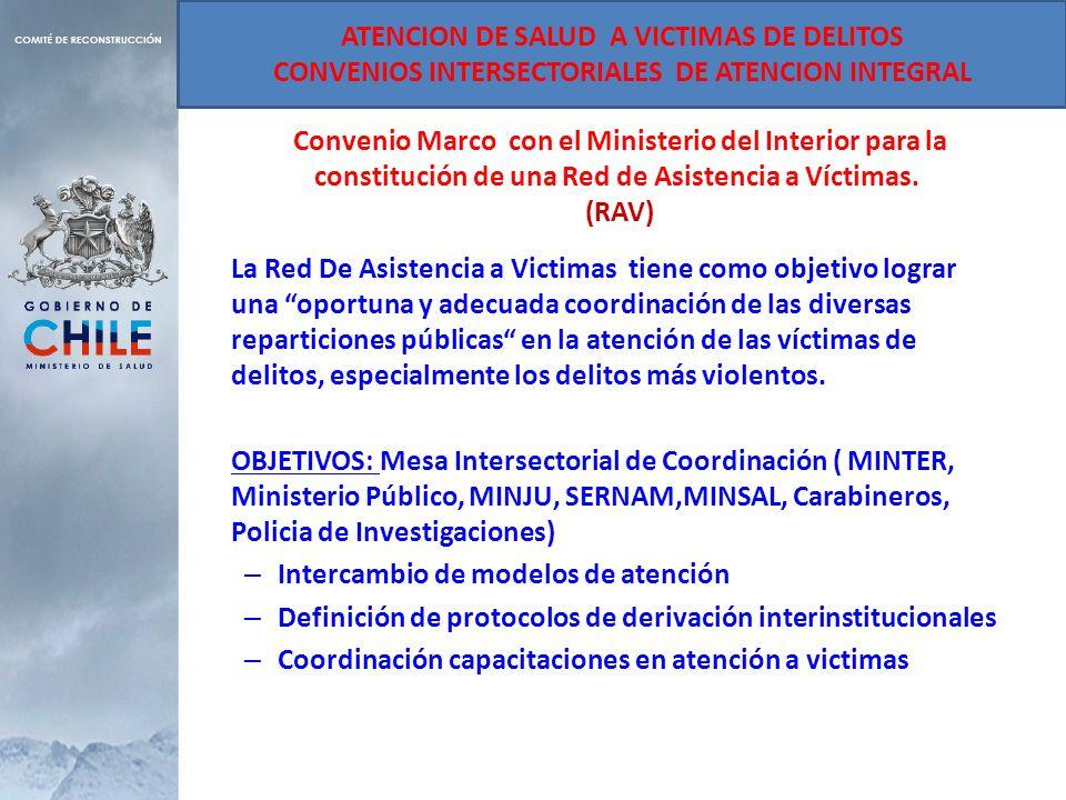 Convenio Marco con el Ministerio del Interior para la constitución de una Red de Asistencia a Víctimas. (RAV) La Red De Asistencia a Victimas tiene co