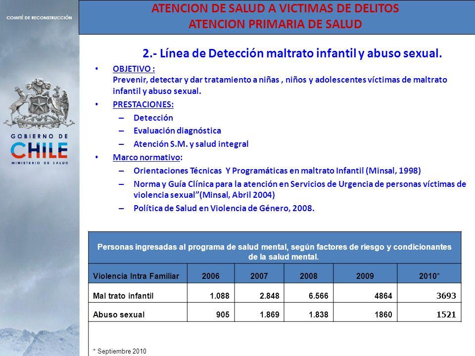ATENCION DE SALUD A VICTIMAS DE DELITOS ATENCION PRIMARIA DE SALUD 2.- Línea de Detección maltrato infantil y abuso sexual. OBJETIVO : Prevenir, detec