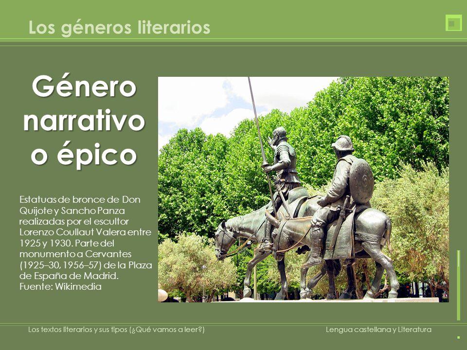 Los géneros literarios Género narrativo o épico Estatuas de bronce de Don Quijote y Sancho Panza realizadas por el escultor Lorenzo Coullaut Valera en