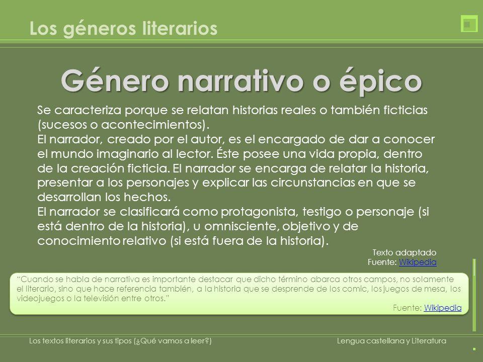 Los géneros literarios Género narrativo o épico Los textos literarios y sus tipos (¿Qué vamos a leer?)Lengua castellana y Literatura Cuando se habla d