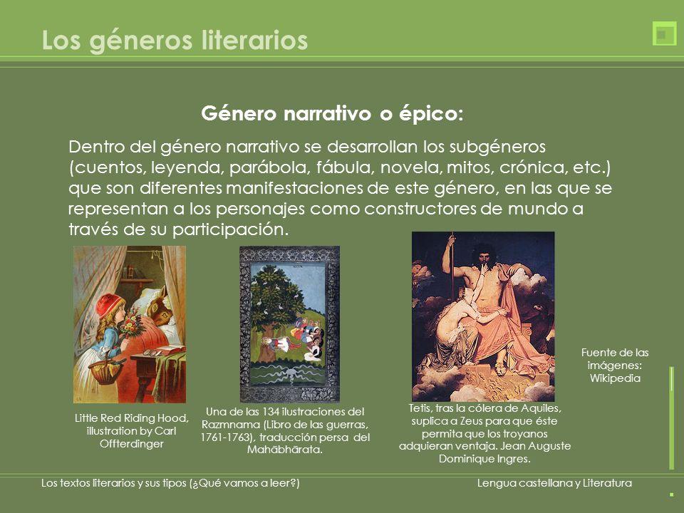 Género narrativo o épico: Los textos literarios y sus tipos (¿Qué vamos a leer?)Lengua castellana y Literatura Dentro del género narrativo se desarrol