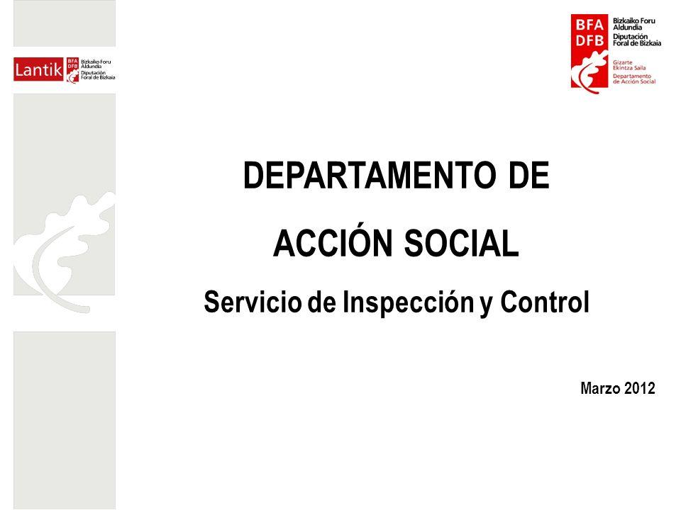 DEPARTAMENTO DE ACCIÓN SOCIAL Servicio de Inspección y Control Marzo 2012