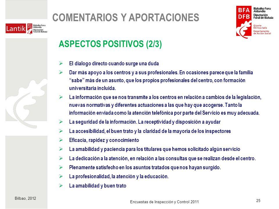 Bilbao, 2012 25 Encuestas de Inspección y Control 2011 ASPECTOS POSITIVOS (2/3) El dialogo directo cuando surge una duda Dar más apoyo a los centros y