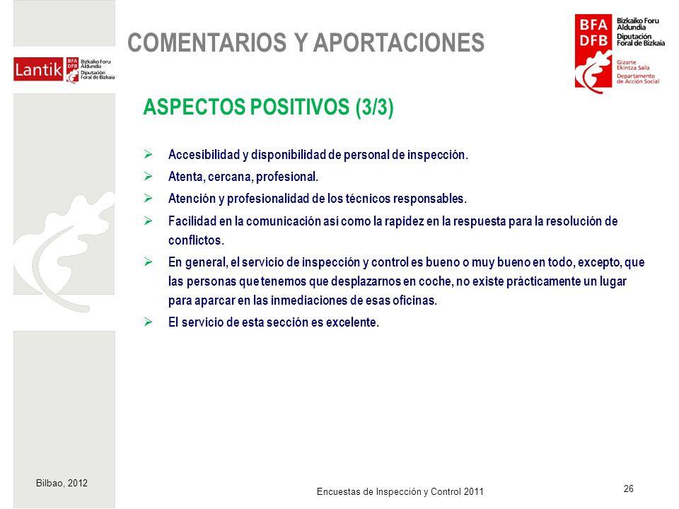 Bilbao, 2012 26 Encuestas de Inspección y Control 2011 ASPECTOS POSITIVOS (3/3) Accesibilidad y disponibilidad de personal de inspección. Atenta, cerc