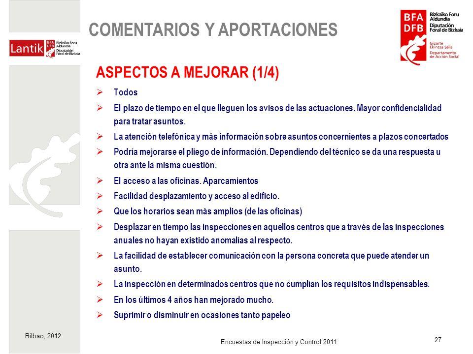 Bilbao, 2012 27 Encuestas de Inspección y Control 2011 ASPECTOS A MEJORAR (1/4) Todos El plazo de tiempo en el que lleguen los avisos de las actuacion