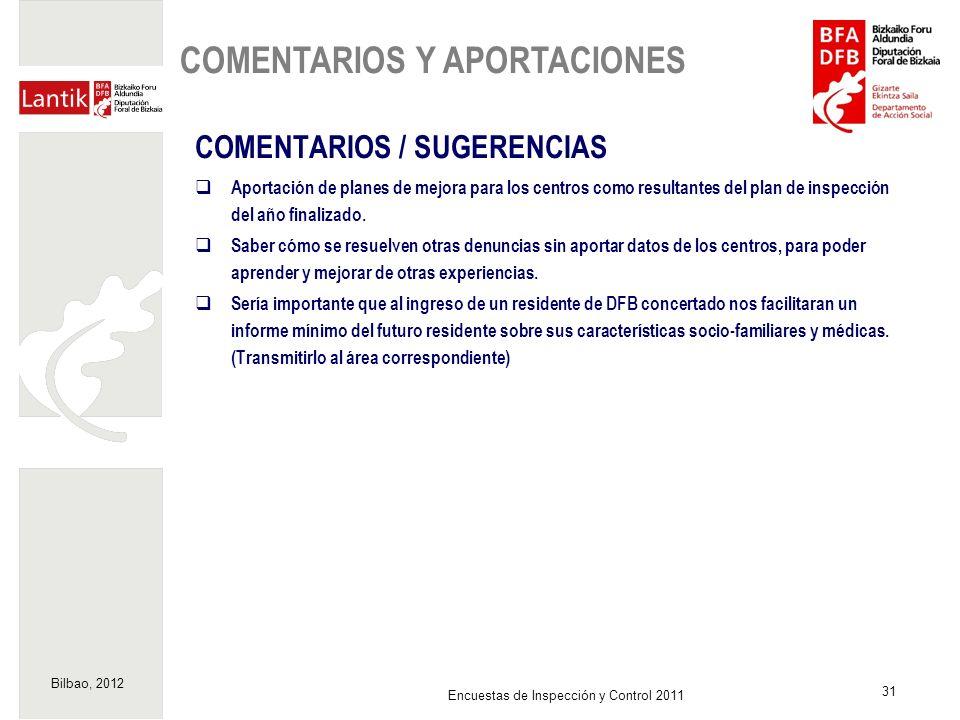 Bilbao, 2012 31 Encuestas de Inspección y Control 2011 COMENTARIOS / SUGERENCIAS Aportación de planes de mejora para los centros como resultantes del
