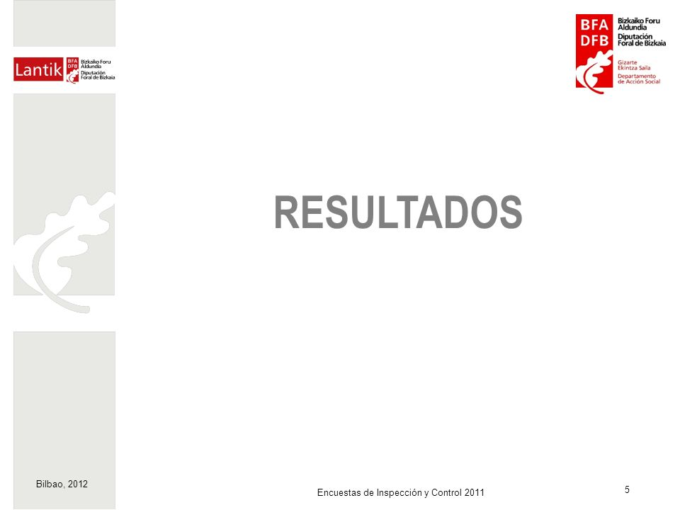 Bilbao, 2012 5 Encuestas de Inspección y Control 2011 RESULTADOS