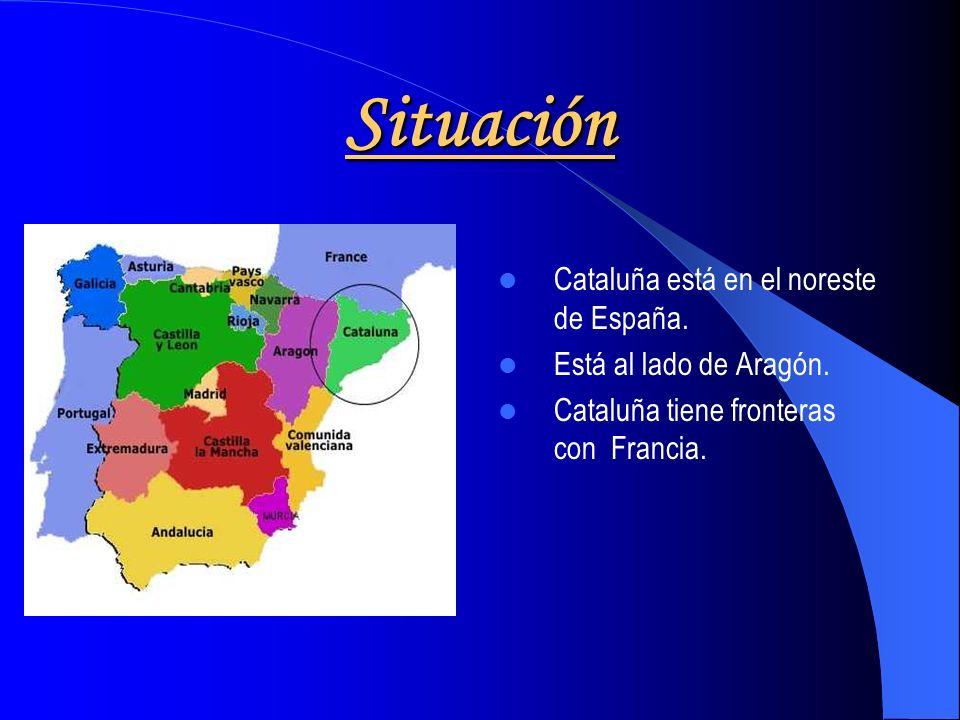 Situación Cataluña está en el noreste de España.Está al lado de Aragón.