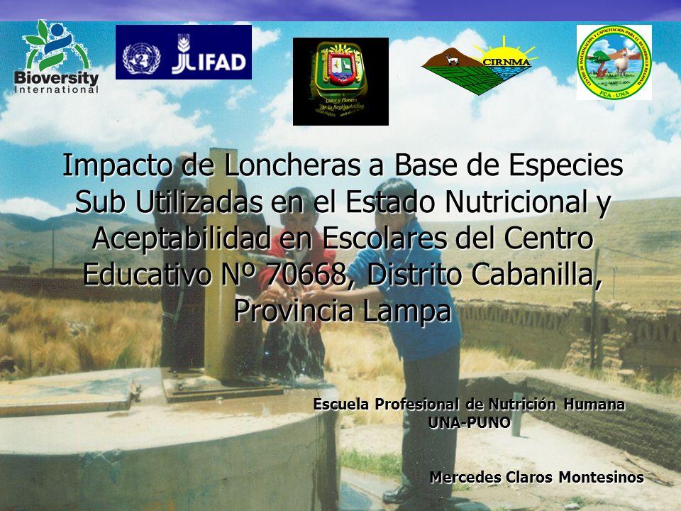 Impacto de Loncheras a Base de Especies Sub Utilizadas en el Estado Nutricional y Aceptabilidad en Escolares del Centro Educativo Nº 70668, Distrito C