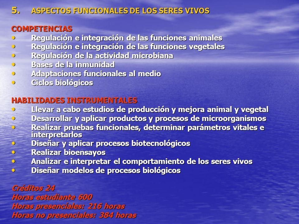 5. ASPECTOS FUNCIONALES DE LOS SERES VIVOS COMPETENCIAS Regulación e integración de las funciones animales Regulación e integración de las funciones a