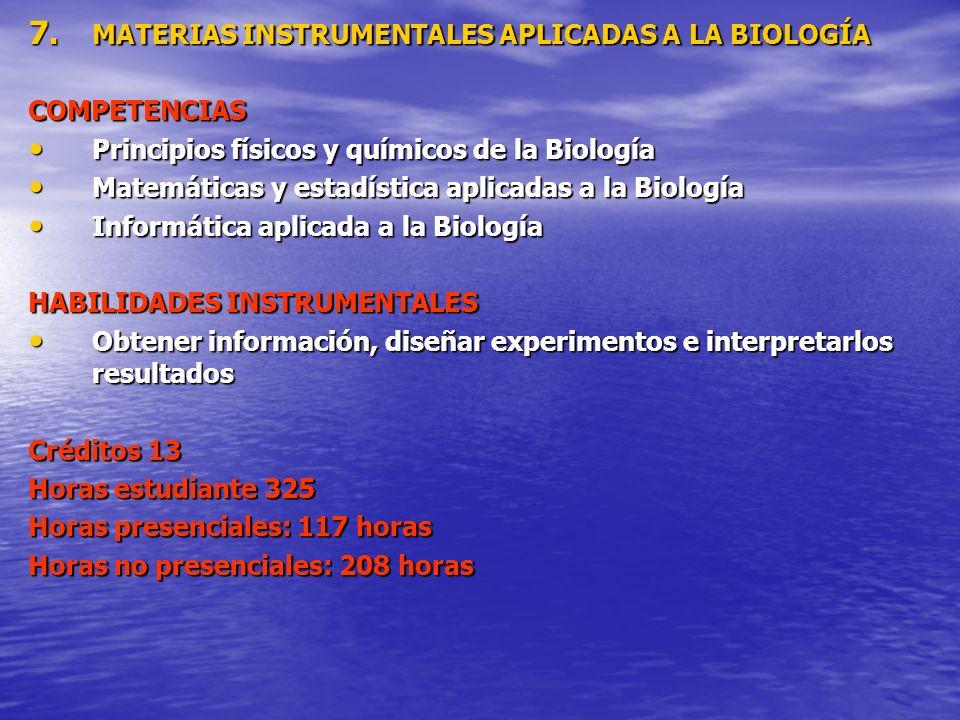 7. MATERIAS INSTRUMENTALES APLICADAS A LA BIOLOGÍA COMPETENCIAS Principios físicos y químicos de la Biología Principios físicos y químicos de la Biolo