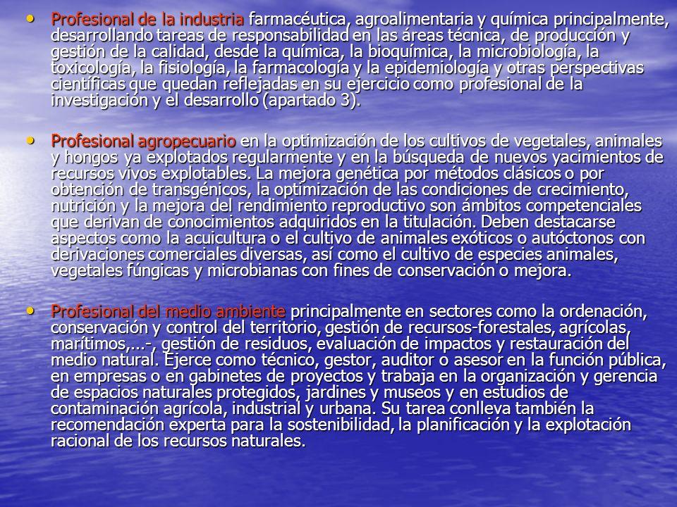 Profesional de la industria farmacéutica, agroalimentaria y química principalmente, desarrollando tareas de responsabilidad en las áreas técnica, de