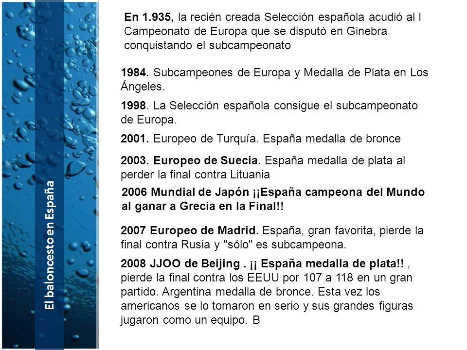 El baloncesto en España 1984. Subcampeones de Europa y Medalla de Plata en Los Ángeles. 2001. Europeo de Turquía. España medalla de bronce 2003. Europ