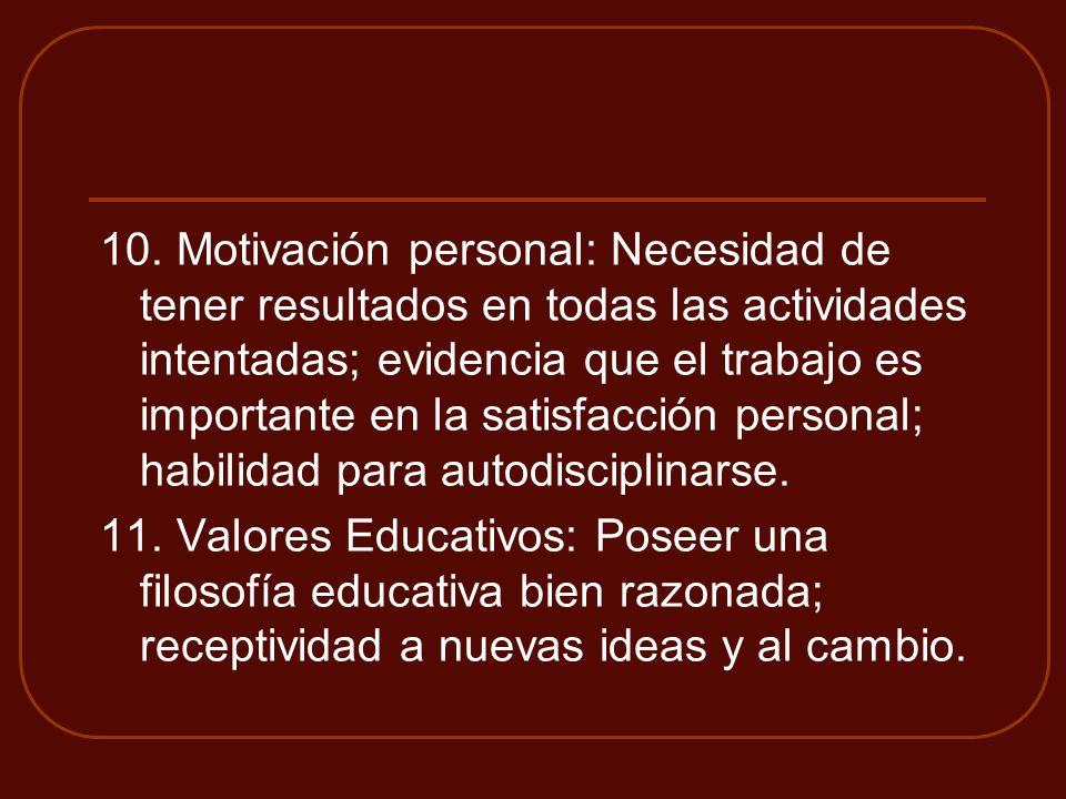 10. Motivación personal: Necesidad de tener resultados en todas las actividades intentadas; evidencia que el trabajo es importante en la satisfacción