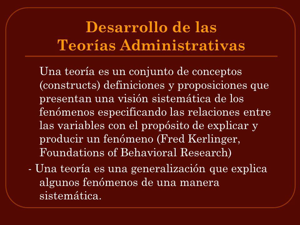 Desarrollo de las Teorías Administrativas Una teoría es un conjunto de conceptos (constructs) definiciones y proposiciones que presentan una visión si
