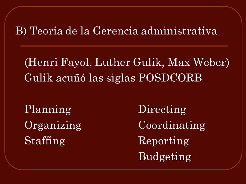 B) Teoría de la Gerencia administrativa (Henri Fayol, Luther Gulik, Max Weber) Gulik acuñó las siglas POSDCORB PlanningDirecting Organizing Coordinati