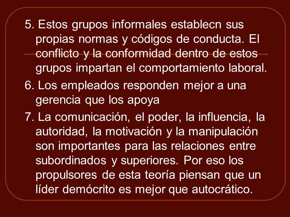 5. Estos grupos informales establecn sus propias normas y códigos de conducta. El conflicto y la conformidad dentro de estos grupos impartan el compor