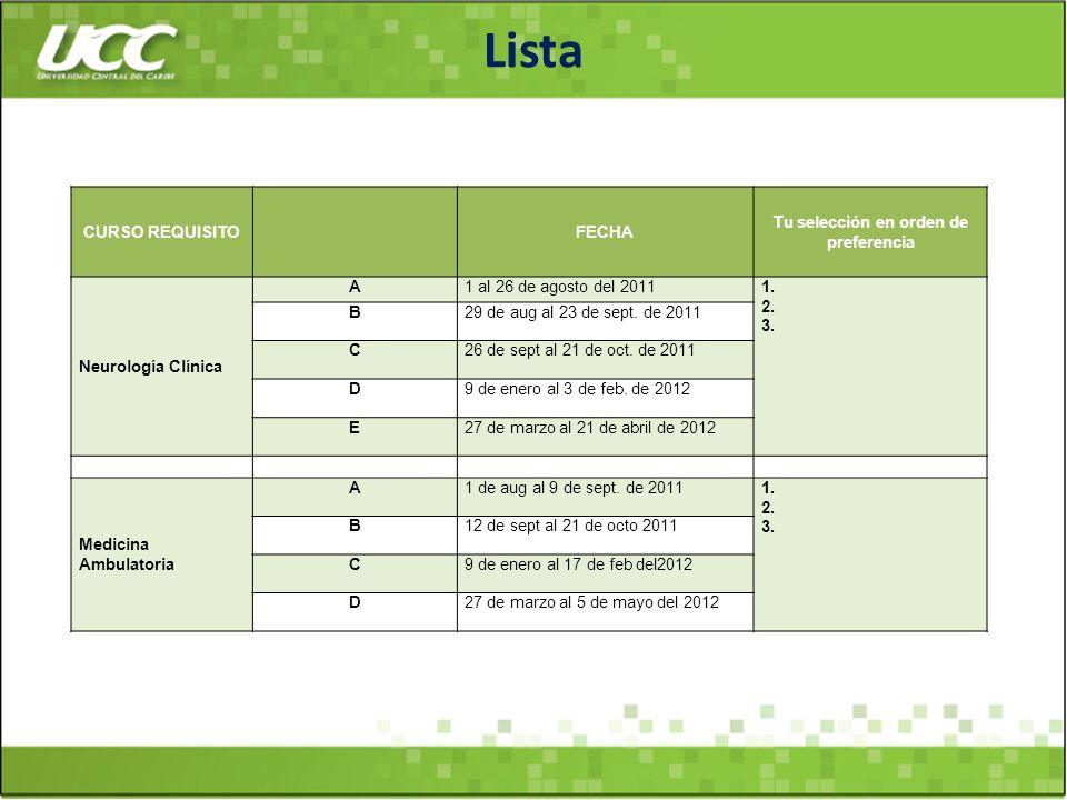 Lista CURSO REQUISITOFECHA Tu selección en orden de preferencia Neurología Clínica A1 al 26 de agosto del 20111. 2. 3. B29 de aug al 23 de sept. de 20