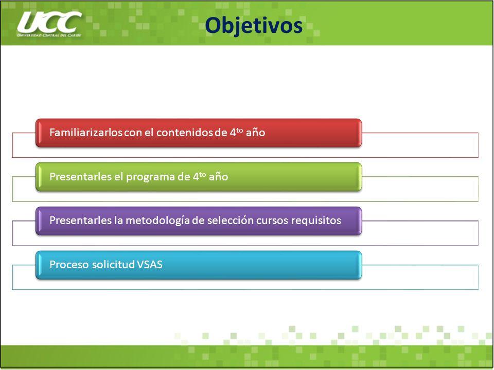 Objetivos Familiarizarlos con el contenidos de 4 to añoPresentarles el programa de 4 to año Presentarles la metodología de selección cursos requisitos