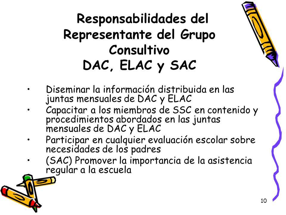 10 Responsabilidades del Representante del Grupo Consultivo DAC, ELAC y SAC Diseminar la información distribuida en las juntas mensuales de DAC y ELAC