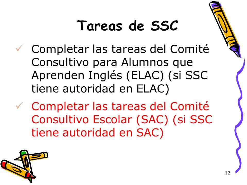 12 Tareas de SSC Completar las tareas del Comité Consultivo para Alumnos que Aprenden Inglés (ELAC) (si SSC tiene autoridad en ELAC) Completar las tar