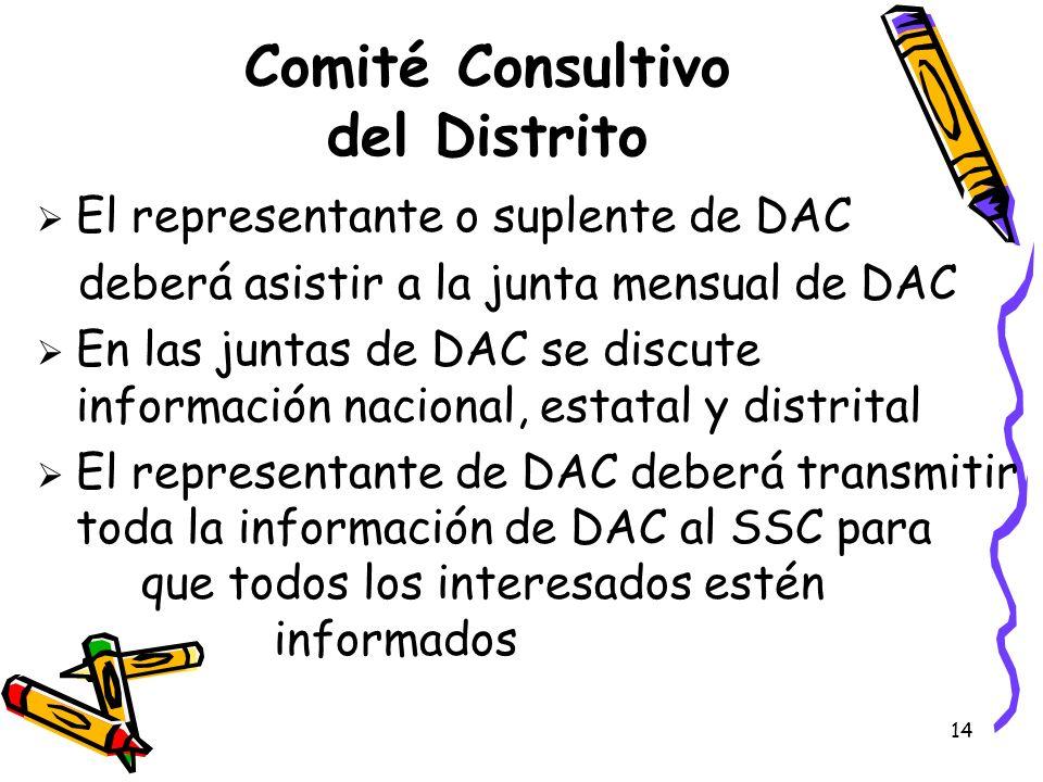 14 Comité Consultivo del Distrito El representante o suplente de DAC deberá asistir a la junta mensual de DAC En las juntas de DAC se discute informac