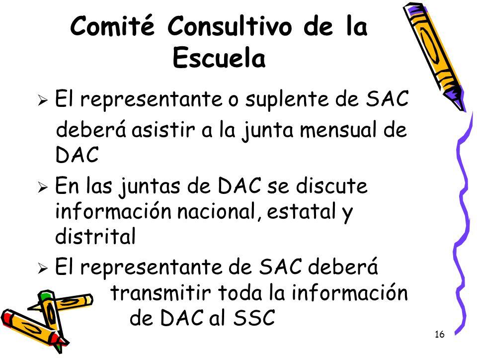 16 Comité Consultivo de la Escuela El representante o suplente de SAC deberá asistir a la junta mensual de DAC En las juntas de DAC se discute informa
