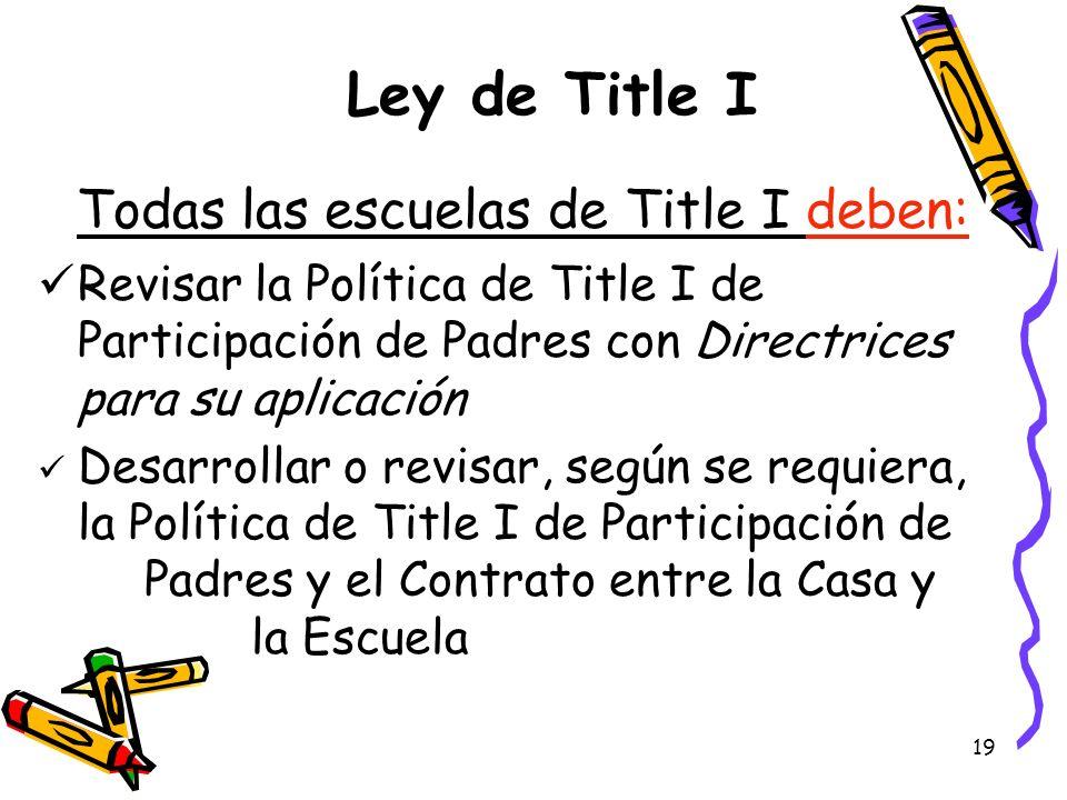 19 Ley de Title I Todas las escuelas de Title I deben: Revisar la Política de Title I de Participación de Padres con Directrices para su aplicación De