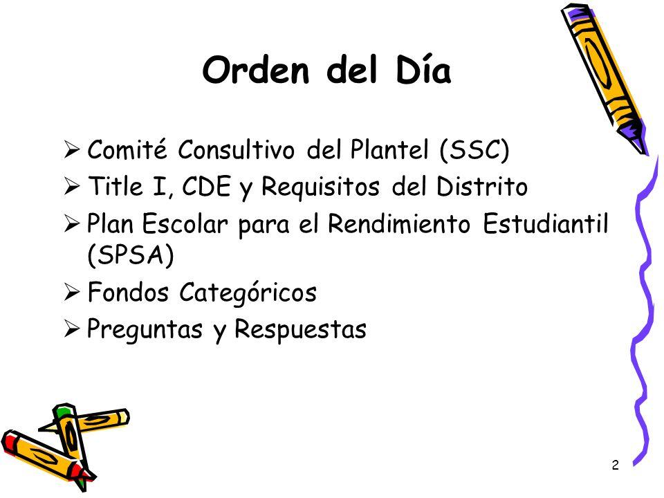 2 Orden del Día Comité Consultivo del Plantel (SSC) Title I, CDE y Requisitos del Distrito Plan Escolar para el Rendimiento Estudiantil (SPSA) Fondos