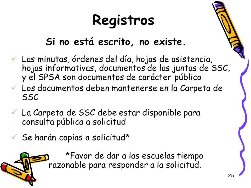 25 Registros Si no está escrito, no existe. Las minutas, órdenes del día, hojas de asistencia, hojas informativas, documentos de las juntas de SSC, y