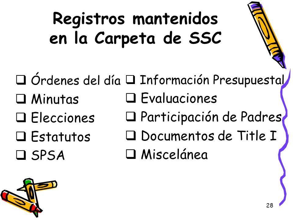 28 Registros mantenidos en la Carpeta de SSC Órdenes del día Minutas Elecciones Estatutos SPSA Información Presupuestal Evaluaciones Participación de