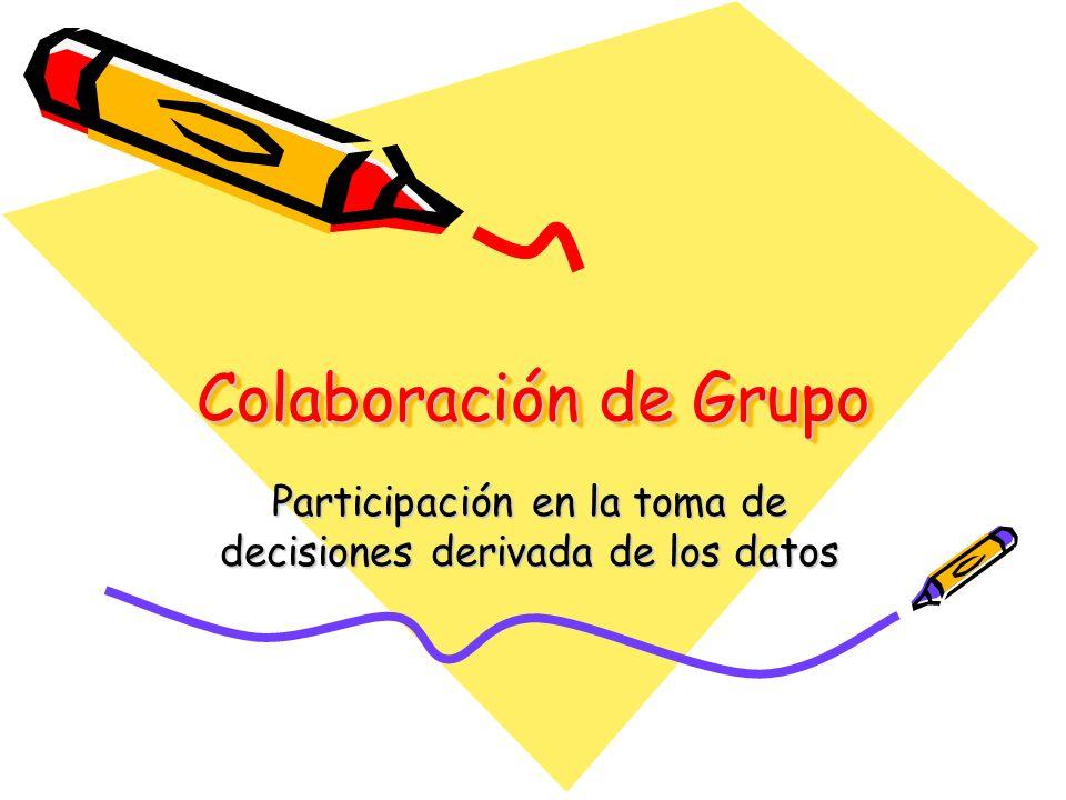 Colaboración de Grupo Participación en la toma de decisiones derivada de los datos