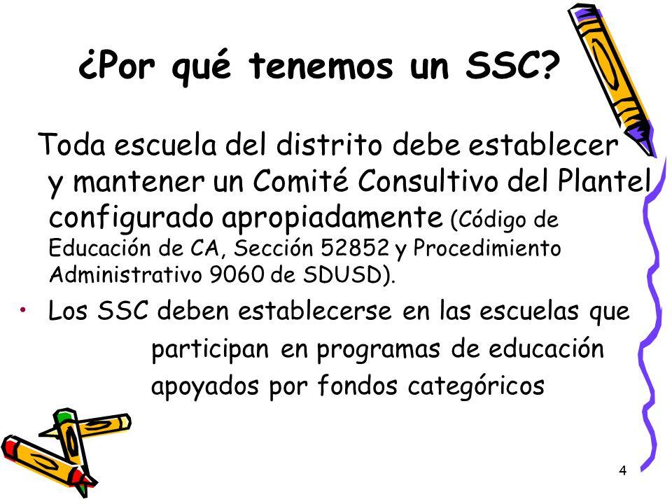 4 ¿Por qué tenemos un SSC? Toda escuela del distrito debe establecer y mantener un Comité Consultivo del Plantel configurado apropiadamente (Código de