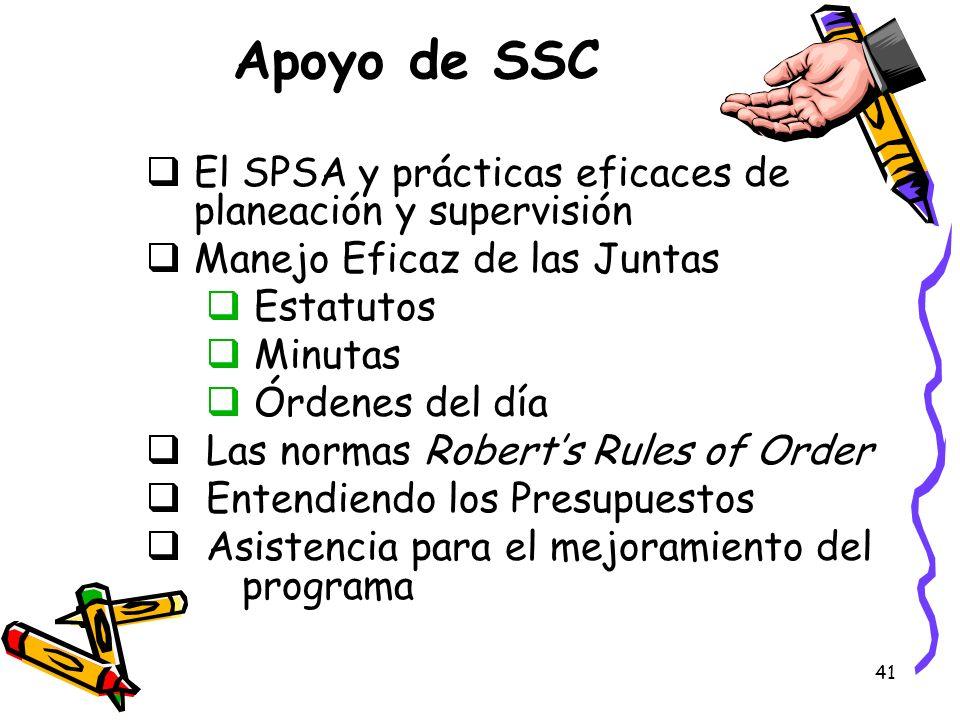 41 Apoyo de SSC El SPSA y prácticas eficaces de planeación y supervisión Manejo Eficaz de las Juntas Estatutos Minutas Órdenes del día Las normas Robe