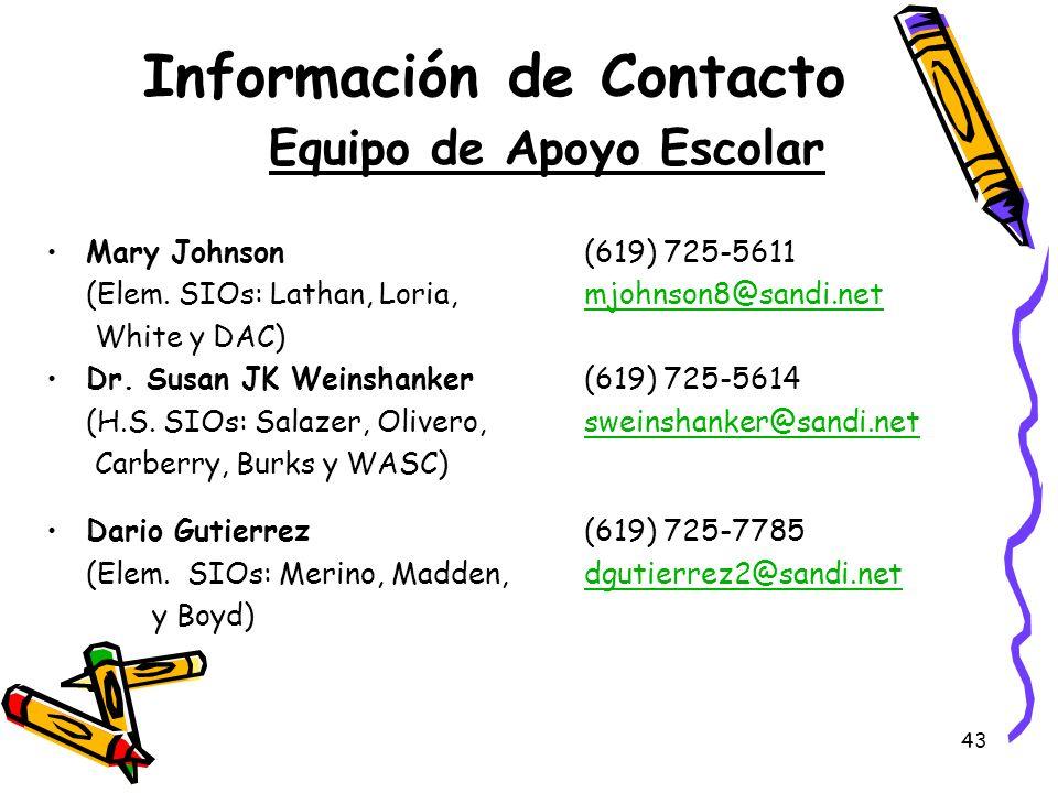 43 Información de Contacto Equipo de Apoyo Escolar Mary Johnson (619) 725-5611 (Elem. SIOs: Lathan, Loria, mjohnson8@sandi.netmjohnson8@sandi.net Whit