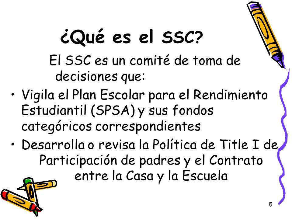 5 ¿Qué es el SSC? El SSC es un comité de toma de decisiones que: Vigila el Plan Escolar para el Rendimiento Estudiantil (SPSA) y sus fondos categórico