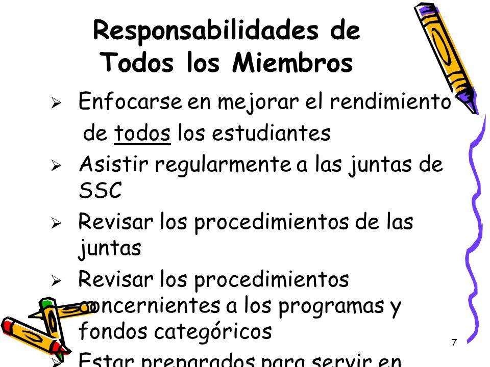 7 Responsabilidades de Todos los Miembros Enfocarse en mejorar el rendimiento de todos los estudiantes Asistir regularmente a las juntas de SSC Revisa