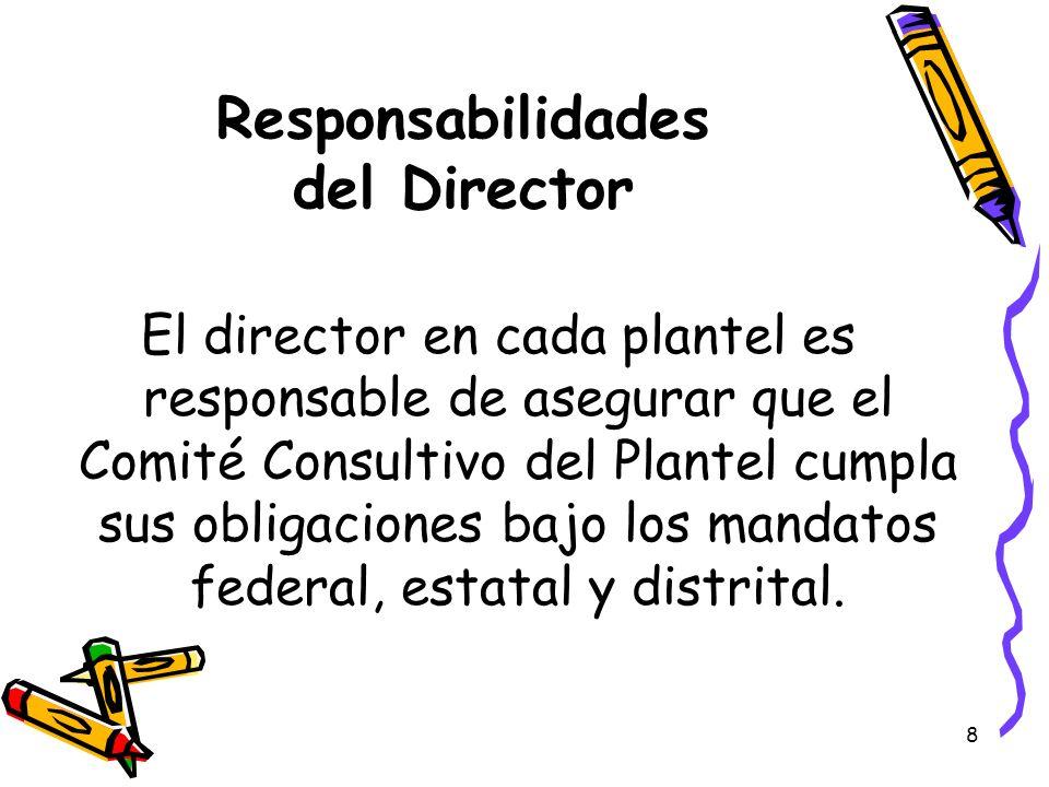 9 Responsabilidades del Director y del Presidente de SSC El director y el presidente de SSC son responsables de trabajar juntos para guiar al Comité Consultivo del Plantel.